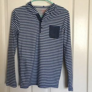Cat & Jack striped long-sleeve hooded shirt